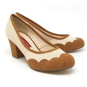 B.a.i.t. ModCloth tan Rizzo block heels